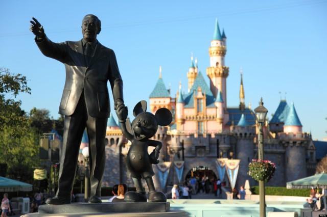 Walt Disney and Mickey Mouse statue at Disneyland California